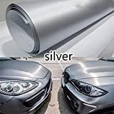 """ZHUOTOP 152Cm 12"""" X 60"""" Brushed Aluminum Vinyl Film Metallic Wrap Sticker Decal Bubble Free Air Releasesilver Silver"""
