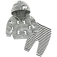 128f18c953bf Anna Judy Baby Boys  Cotton Knitted Zipper Dinosaur Jacket and Pant  Tracksuit 2Pieces Clothing Set