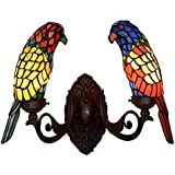 Tiffany Style Parrot Wall Sconce Light, Stained Glass Wall Lamp for Bedroom Living Room Aisle Corridor, Bathroom Mirror Headlight, 111-240V, E14,C