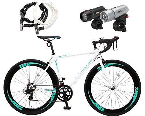 Nex Tyle (ネクスタイル) ロードバイク 自転車 700c(シマノ製7段変速 クロモリレーム) ZNX-7014(LETライト チェーンロックセット) (ホワイト)