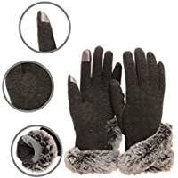 WENER Women's Wool Touch Screen Winter Gloves with Faux Cony Hair Cuffs Gloves
