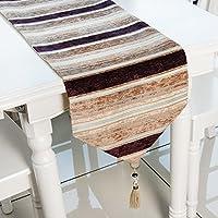 Top Finel テーブルランナー 北欧 お手入れ簡単 横縞 ストライプ 食卓飾り エレガント タッセル付き 幅33cmx丈180cm(全2サイズ4色) ブラウン