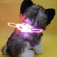 【全5色】 LED チューブ 型 光る 犬 用 首 輪 長さ 80cm 調整 可能 LED 3 パターン 点灯 (4. ピンク 桃)