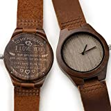 CUCOL メンズ クルミ材木製腕時計 刻印入り 木製 スタイリッシュ レザーウォッチ ギフトボックス付き 素敵なお父さん/旦那様/息子さん(クリスマス) For my husband
