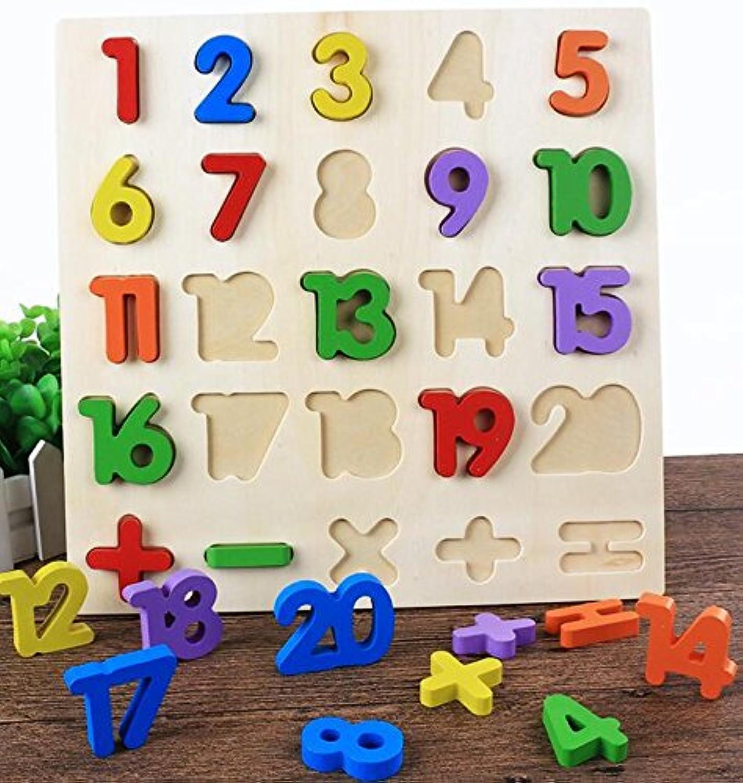 HuaQingPiJu-JP 子供のための木製の就学前の番号認知ボード教育パズル