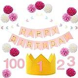 soranekoya 誕生日飾り 王冠 セット 1歳 2歳 3歳 バースデイ (ピンク)