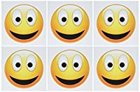 Perkins Designs文字–Smiley Face 2aイエローandブラックHappy Face with a big smile and glowing鼻–グリーティングカード Set of 6 Greeting Cards