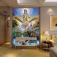 Lcymt ヒンズー教の神シヴァ壁紙の大壁画ヨガ東南アジアスタイルのレストランの壁紙壁画-350X250Cm