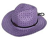 (ビグッド)Bigood 赤ちゃん ベビー 帽子 子供 ハット カウボーイハット ストローハット 麦わら帽子 つば広ハット キッズサンバイザー UVカット 日焼け防止(紫)
