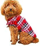 ペット 服 犬 猫 用 シャツ ドッグ ウェア チェック 柄 コットン 綿 製 春 夏 秋 用 襟 付Tシャツ ジャケット ペット用品 (レッド XL)