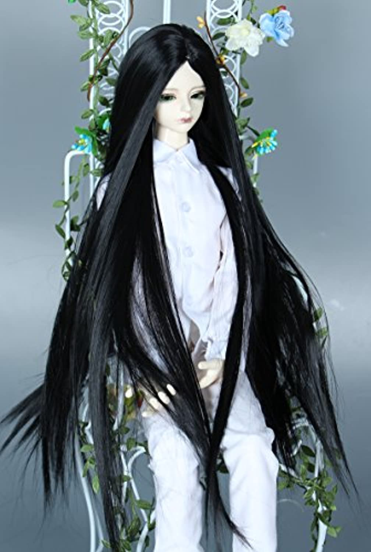 Linfairy 8-9 inch 1/3 サイズ ドール用 ウィッグ フィギュア 人形用 BJD 黑 black 真ん中分 50CM
