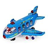 NextX B111 プレーンズ玩具 電子飛行機 旅客機747模型 知育おもちゃ 幼児飛行機玩具 (青)