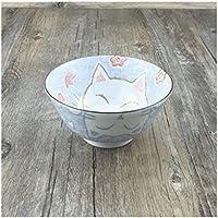 セラミックボウル皿プレートクリエイティブなかわいいライスデザート穀物ボウルセットパスタプレート調味料味噌の食器ピンクラッキーキャットフィッシュ (サイズ : 13.2CM*6.8CM BLUE)