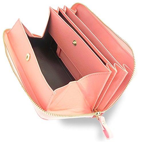 Morina 牛革 長財布 ラウンドファスナー ギャルソンウォレット 大きく開く 小銭入れ メンズ レディース (ピンク(光沢なし))
