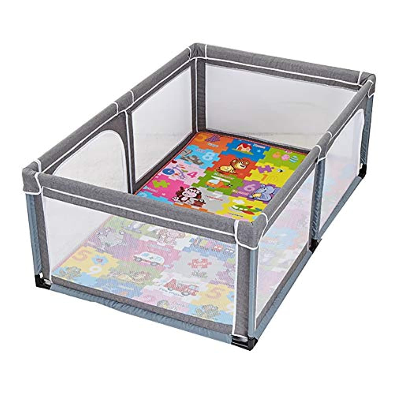 ベビーサークル 幼児のプレイヤードは、庭屋内ベビーベビーサークルポータブル子供の安全フェンスがクロールマットとペンを再生し (色 : Gray, サイズ さいず : 120x190x70cm)