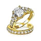 ブリングジュエリー 3.5ct CZ (キュービックジルコニア)婚約指輪 結婚指輪 セット 金鍍金 ゴールド 金 スターリング シルバー 925 リング 指輪 サイズ 9号