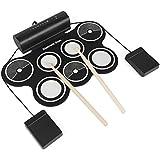 LeaningTech Konix MD759 7 Pads 電子マットドラムセット 進化バージョン MIDI機能 本番動画を提供 音質参考 音楽ゲームにお勧め パソコンと接続 録音 デモ 機能搭載  打楽器 ペダル付き どこでもドラム