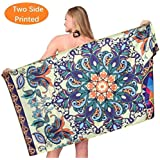 Sand Free Travel Beach Towel Blanket-Quick Fast Dry Super Absorbent Lightweight Thin Microfiber Towels for Pool Swimming Bath Camping Yoga Gym Bohemian Mandala