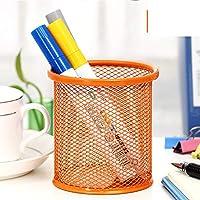 金網 ペン立て, オフィス用品ペン オーガナイザー カラフルな鉛筆ホルダー デスク オーガナイザー装飾ペン鉛筆カップ -オレンジラウンド 8x8x10cm(3x3x4inch)