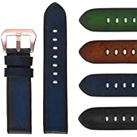 StrapsCo 22mm Faded Blue Vintage Leather Watch Band with Rose Gold Buckle - Quick Release Strap