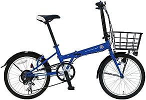 FIAT(フィアット) FDB206L ブルー 20インチ 折りたたみ自転車 シマノ製6段変速ギア搭載 手元切り替えスイッチ式LEDライト装着 大型バスケット 後輪リング錠 前後泥除け付き 12222-0399