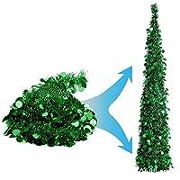 ポップアップします。 クリスマスティンセルツリー,人工 折りたたみ 装飾的な木 スパンコール 見せびらかす クリスマスツリー 休日の オフィス ホーム 装飾-緑