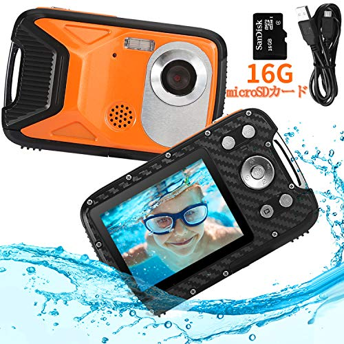Pellor 子供用デジタルカメラ 子供カメラ トイカメラ 5M防水機能 800万画素 21MP画素 2.8インチIPS画面 16GB容量MicroSDカード付き 録画機能 スピーカー内蔵 マイク内蔵 キッズカメラ 日本語説明書 子供プレゼント(オレンジ,