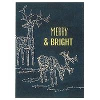 Merry & Bright Lightedトナカイホリデーカード–-ボックス10のカードと封筒