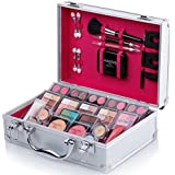 Mixed Beauty Makeup Kits Cosmetic Case Set Eyeshadow Palette Blushes Lip Makeup Jewellery Box MU17 (Silver)