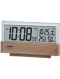 セイコー クロック 置き時計 電波 デジタル カレンダー 温度 湿度 表示 薄茶 木目 模様 SQ782B SEIKO