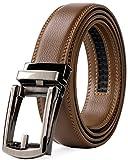 (ジャスグッド)JASGOOD ベルト メンズ 革 レザー ビジネス カジュアル 通勤 紳士 フォーマル ベルト オートロック式 男性用 スーツ用 サイズ調整可能 誕生日 プレゼント(ブラウン)