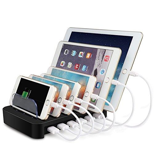 MixMart 6ポートUSB充電器 6台同期 急速充電 ステーション 多功能デスクトップ 充電スタンド iPhones/iPad/Nexus/Galaxy/ タブレットPC スマートフォンなど充電対応(黒)
