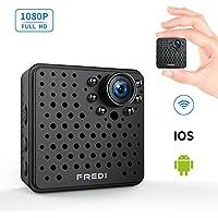 FREDI 超小型 隠しカメラ WiFi 長時間録画対応 防犯カメラ 1080P 小型ビデオカメラ 高画質 録音 動体検知 暗視機能 P2P対応 4分割画面 iPad/iPhone / Android 対応 (L17-1080P, ブラック)