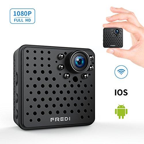 FREDI 超小型 隠しカメラ WiFi 長時間録画対応 防犯カメラ 1080P 小型ビデオカメラ 高画質 録音 動体検知 暗視機能 P2P対応 4分割画面 iPad/iPhone / Android...