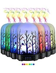 エッセンシャルオイル用ディフューザー (100ml)-3d アートガラスハッピーフォレストアロマ加湿器7色の変更 LED ライト & 4 タイマー設定、水なしオートシャットオフ