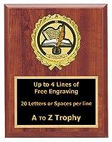 文学Plaque Awards 5x 7木製ブックWriting TrophyトロフィーFree Engraving