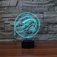 Llhyd 3dクリエイティブ釣りled錯覚ライトナイトライト光学ベッドサイドテーブルナイトライト照明子供のランプ睡眠照明7色変更装飾テーブルランプ
