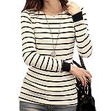 (シュプリ) Surpris ボーダー 柄 長袖 カットソー Tシャツ 白 黒 S M L XL (2:Mサイズ)