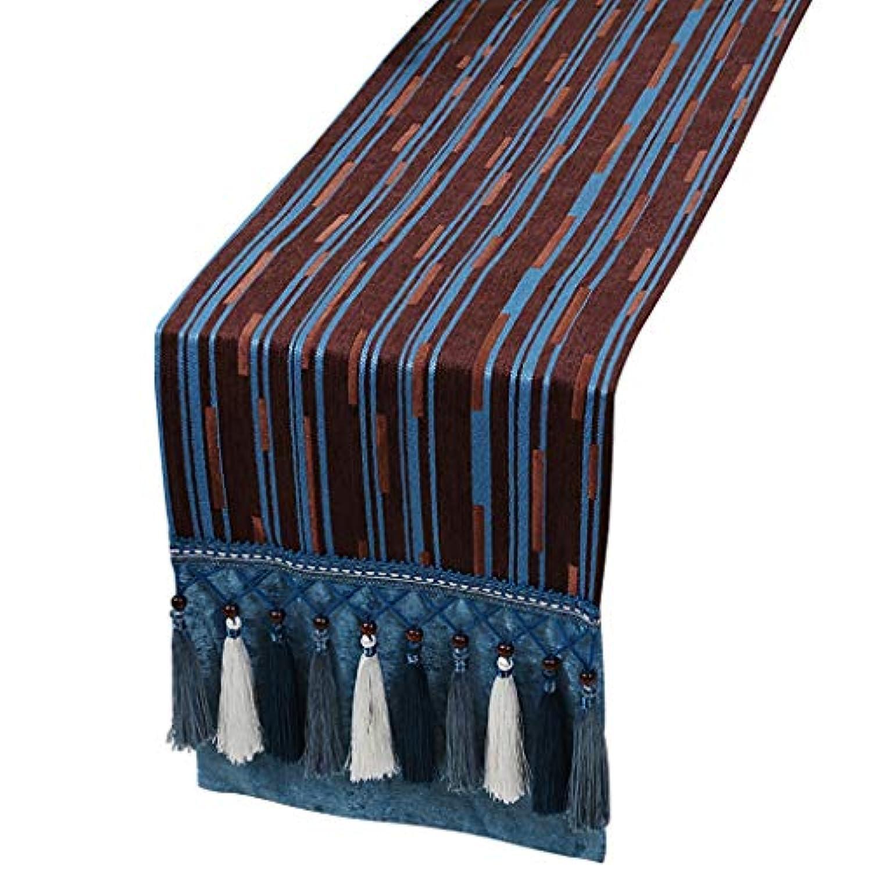 タッセルブルーテーブルランナーストライプ、ダイニングテーブル用の綿とリネンのテーブルランナー、テレビのキャビネット、コーヒーテーブル、靴のキャビネット、ポーチ (Color : B, Size : 33cm×300cm)
