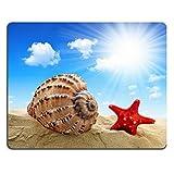 マウスパッド自然ゴムマウスパッド3ビーチでヒトデが付いている貝殻