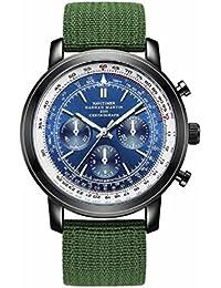 【TAILOR JAPAN】 メンズ腕時計 ミリタリー腕時計 パイロット ウォッチ 腕時計 カジュアル 空軍 日本製クオーツ ナイロン レザー (ブルー)