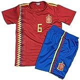 子供用サッカーユニフォーム(シャツパンツセット) 2018モデル スペイン代表 ホーム アンドレス・イニエスタ 背番号6 レプリカサッカーユニフォーム 子供用 S