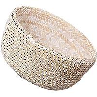 SM SunniMix 竹製 バスケット 植物鉢 フラワーバスケット 家庭用 収納バスケット 多目的 衣服 キルト 人形 収納 実用的 全2種選べる  - ホワイト, S