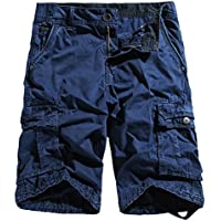Chouyatou Men's Outdoor Multi-Pockets Loose Stylish Chino Cargo Shorts