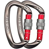FerDIM 25KN Rock Climbing Carabiner D-Shaped Hot-Forged Magnalium Locking Climbing Hook Holds 5511lbs with Screwgate Clip Climber Hiking Karabiner Outdoor Sport Tools CE Certified (Gray 2/Pack)