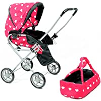 [ニューヨークドールコレクション]The New York Doll Collection Heart Printed Doll Bassinet Stroller with Travel Carry Bag for 18 Inch Doll [並行輸入品]