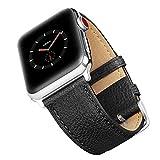 Apple Watch Series 3 バンド 本革 Benuo アップルウォッチ 交換バンド ビジネス風 アダプター付き 簡単交換 シンプル Apple Watch ベルト 全機種対応 iWatch Series 3/2/ 1/Edition/Sport 対応 (38mm, ブラック)