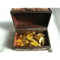 ゴールド 金貨 100枚入り !! カリブの 海賊 バイキング 大航海時代 地図柄 宝箱 + 食卓を彩る テーブルクロス にも 最適! 黄金に輝く 布製 宝の地図 付き !!