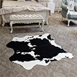Best ベストセラーのコーヒーテーブル - Faux cow print rug5.2wx4.6LフィートラグFaux牛革動物印刷エリアラグカーペットforホームオフィス、リビング、ベッドルーム Review