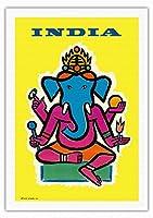 インド - ヒンドゥー教の神ガネーシャ - ビンテージな航空会社のポスター によって作成された ジャン・カルリュ c.1959 - キャンバスアート - 69cm x 102cm キャンバスアート(ロール)